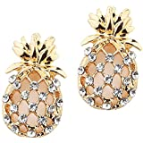 FVERMECKY Pineapple Stud Earrings,Crystal Stud Earrings Cute Pineapple Earrings for Girls and Women(Gold Color)