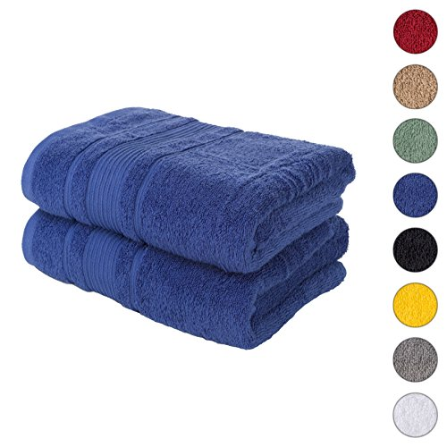 2 PACK Bath Towels Set | Premium Quality Luxury Turkish Cotton Absorbent AND Super Soft – NAVY BLUE