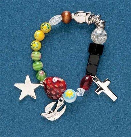Roman 127926 Bracelet Christs Story Bead & Charm Color Stretch With Prayer Card
