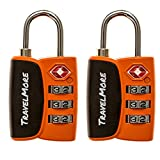 2 Pack Open Alert Indicator TSA Approved 3 Digit Luggage Locks for Travel Suitcase & Baggage