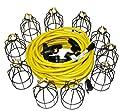 Lind Equipment TLS-100MG String Light, 100ft, 10 Sockets, Metal Guards, 100ft 12/3 STW Cable