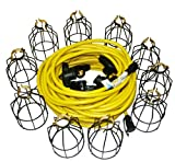 Lind Equipment TLS-100MG String Light, 100ft, 10 Sockets, Metal Guards, 100ft 12/3 STW Cable