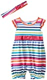 The Children's Place Baby-Girls Infant Striped Romper and Headwrap Set, Rumba Pink, 9-12 Months