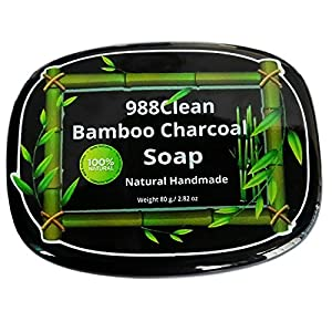 988Clean Activated Bamboo Charcoal Soap. Natural Face & Body Cleanser. Dry Sensitive Skin.