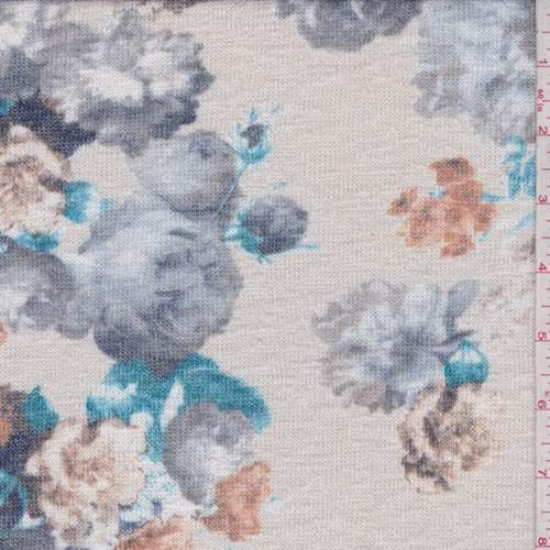 (Champagne Floral Slubbed Sweater Knit, Fabric by The Yard)