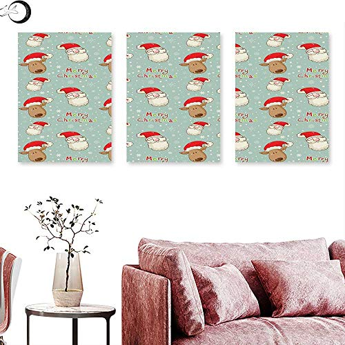 J Chief Sky Christmas Wall hangings Santa Claus and His Deer Celebrating Your Holiday Vintage Cartoon on Snowflakes Wall Panel Art Multicolor Triptych Art Canvas W 24