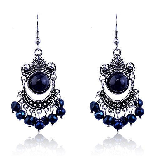 and Blue Bead Silver Tone Chandelier French Hook Drop Earrings for Women 02002121-1 (Black Bead Drop Earrings)