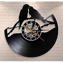 WANGJRU Parrots On Branch Vinyl Record Clock Parrot Couple Aviary Wall Decor Art Clock Birds Wall Clock Watch Bird for Animals Lovers