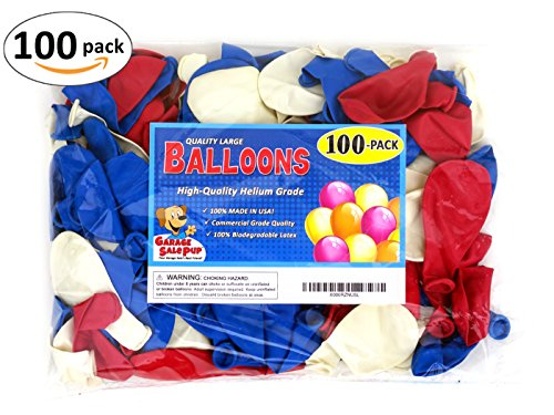 Pack of 100, Assorted Bright Red, White and Blue Color Latex Balloons, MADE IN USA! (United Assorted Flags States)