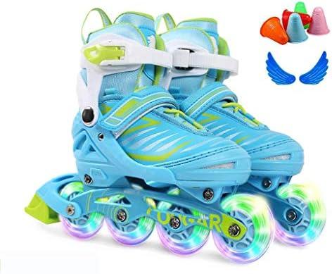 子供用、男の子用、女の子用のロールファン点滅照明ローラーシューズから始まる明るいホイール付きの調整可能なインラインスケート-3つのサイズ。