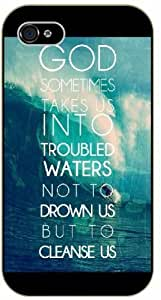 God sometimes takes us into troubles waters, not to drawn us but to cleanse us - Sea, waves, Bible verse Diy For SamSung Galaxy S5 Mini Case Cover black plastic Christian Verses