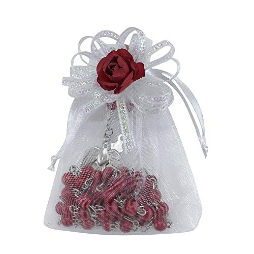 Confirmation Rosary Favor (12 PCS) Red Bead Rosary with Holy Dove Centerprice for Boy or Girl with Organza Favor Bags