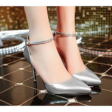 LvYuan Mujer-Tacón Stiletto-Confort-Sandalias-Informal-PU-Blanco Plata Gris White