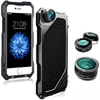 iPhone 7 Lens Kit Case, SHEROX 3 in 1 198° Fisheye Lens + 15X Macro Lens + Wide Angle Lens with IP54 Dustproof Shockproof Aluminum Case, Built-in Screen Protector 4.7 Inches (iPhone 7 Black)