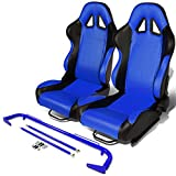 Pair of RS-006-BL-BK PVC Leather Reclinable Racing Seat+Blue 49''Harness Bar