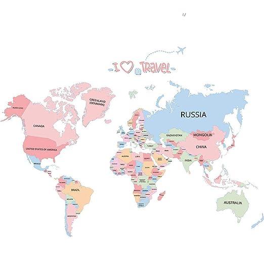YIJIAHUI-home Vinilos Infantiles Mapa del Mundo Colorido para ...