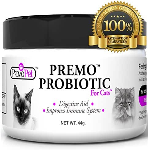 PROBIOTIC for Cats – Premo Pet – Digestive Aid Plus Prebiotic – Best for Diarrhea, Vomiting, Gas, Skin Conditions – Tasteless – Wheat & Dairy Free – GMP – Vet Approved – 44 Grams