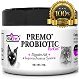 PROBIOTISCH FOR CATS – Premo Pet – Digestive Aid Plus Prebiotic – Best For Diarrhea, Vomiting, Gas, Skin Conditions – Tasteless – Wheat & Dairy Free – GMP – Vet Approved – 44 grams
