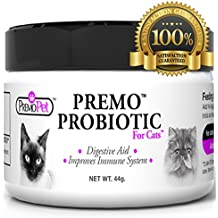 Premo Probiotic PROBIOTICS FOR CATS – Digestive Aid Plus Prebiotic – Best For Diarrhea, Vomiting, Gas, Skin Conditions – Tasteless – Wheat & Dairy Free – GMP – Vet Approved – 44 grams