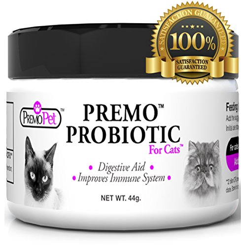 PROBIOTIC for Cats - Premo Pet - Digestive Aid Plus Prebiotic - Best for Diarrhea, Vomiting, Gas, Skin Conditions - Tasteless - Wheat & Dairy Free - GMP - Vet Approved - 44 Grams