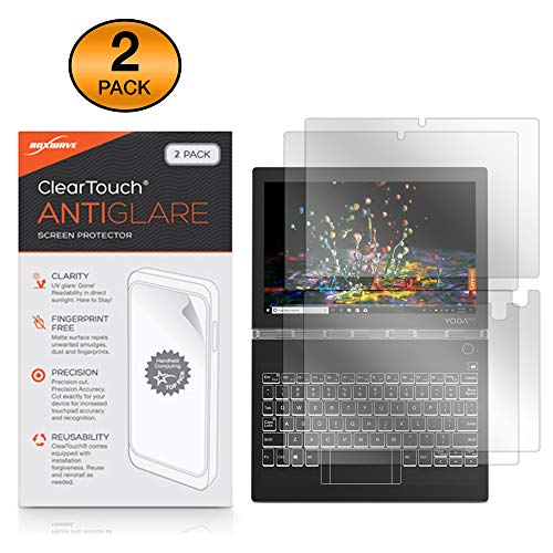 BoxWave Lenovo Yoga Book C930 Screen Protector, [ClearTouch Anti-Glare (2-Pack)] Anti-Fingerprint Matte Film Skin for Lenovo Yoga Book C930