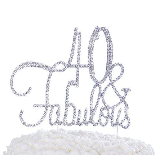 d32e45e30a9c Ella Celebration 40   Fabulous Cake Topper for 40th Birthday Party Supplies  Decoration (Cursive Silver