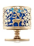 Bath and Body Works 3 Wick Candle Sleeve Holder Gold Deer Buck and Fawk Wildlife Pedestal