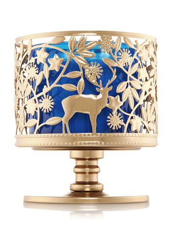 Bath and Body Works 3 Wick Candle Sleeve Holder Gold Deer Buck and Fawk Wildlife Pedestal by Bath & Body Works