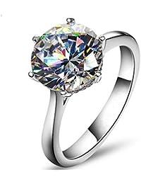 Jewelry Elegant 4ct Round Cushion Cut Solitaire Halo Simulated Diamond Wedding Engagement Ring