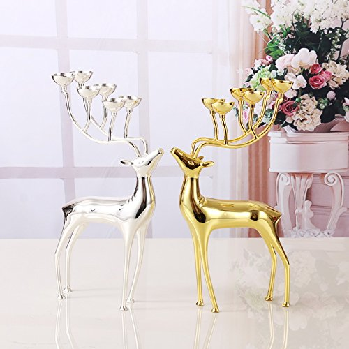 Super PP Luxurious Spotted Deer Stainless Steel Candlestick Candelabra Candle Holders For Home ornaments Gift ( Size : SILVER )