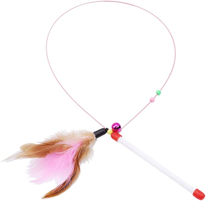 Yinew Cat Toy Feather Wand with Bell Cats Bouncy Rod Feather Teaser Wand Playing Toys for Pet Cats Funny Cat Tool