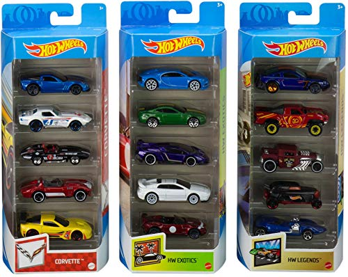 Hot Wheels Variety Fun 5 Pack Bundle of 15 1:64 Scale Vehicles with 3 Themes Corvette, HW Exotics, HW Legends for Collectors & Kids 3 Years Old & Up [Amazon Exclusive]