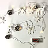Snowflakes and Pine Cone Garland - Lighted Christmas Garland with Holiday Pine Cones and Snow Flakes - Country Christmas - Approximately 200+ Hours of Battery Life