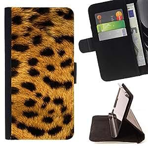 For Samsung Galaxy S6 - Texture Big Cat Leopard Pattern /Funda de piel cubierta de la carpeta Foilo con cierre magn???¡¯????tico/ - Super Marley Shop -