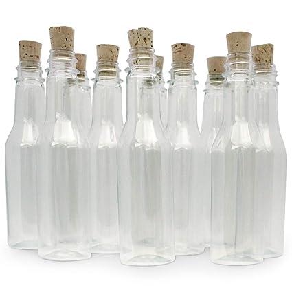 20 botellas de plástico & Tapón de Corcho para mensaje en una botella invitaciones