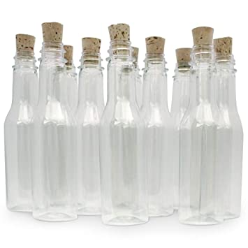 20 botellas de plástico & Tapón de Corcho para mensaje en ...
