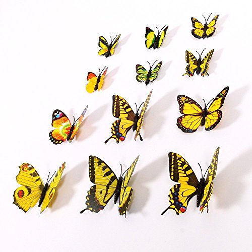 Amaonm 60 Pcs 5 Packages Beautiful 3D Butterfly Wall Decals Removable DIY Home Decorations Art Decor Wall Stickers & Murals for Babys Bedroom Tv Background Living Room (Yellow) ()