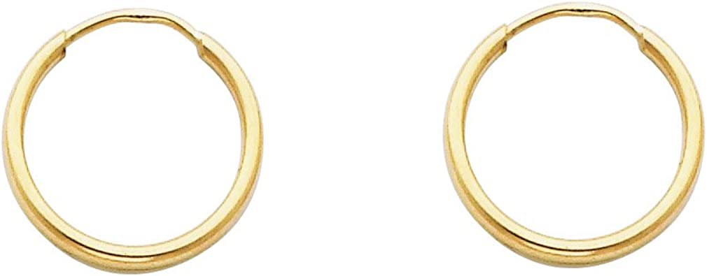 High Polished, 25mm 14k Yellow Gold 1.5mm Thick Round Tube Endless Hoop Earrings