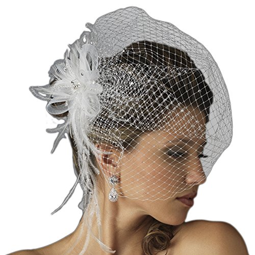 Danica Women's Jeweled Feather Fascinator Comb with Birdcage Veil - White