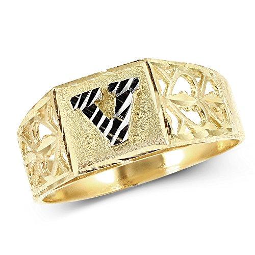 LoveBling 10K Yellow Gold Diamond Cut Ladies Alphabet Initial Ring, Block Lettering (V, 5)