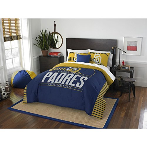 San Diego Padres 3 Piece - A&L 3 Piece Padres Comforter Set Full Queen, Gold Baseball Themed Bedding Sports Pattern Team Logo Fan Merchandise Athletic Team Spirit Fan Casual Comfortable White Blue, Polyester