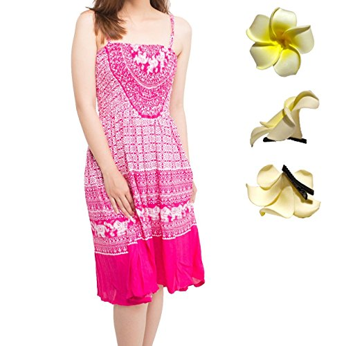 Kat & Nat Womens Batik Animal Empire Waist Dress + Plumeria Flower Hair Clips (Regular, (Animal Print Empire Dress)