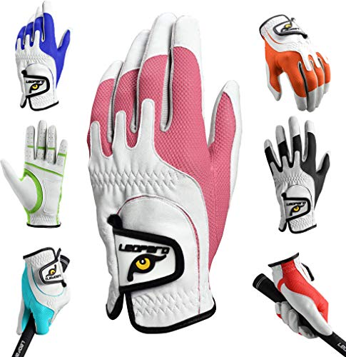Leopard Junior Kids Youth Toddler Boys Girls Golf Gloves Premium Synthetic Leather LH Golf Glove One Size Fits All (Pink, Regular (3-7 y/o))
