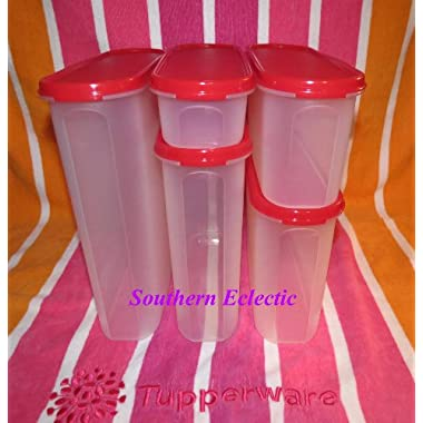 Tupperware Modular Mates Oval Set, Passion Red Seals
