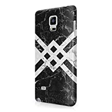 Black Marble With Light Grey Marble Samsung Galaxy Note 4 Plastic Phone Protective Case Cover