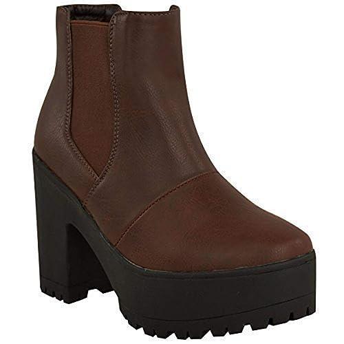 Fashion Thirsty Mujer Botines Chelsea Grueso Plataformas Tacón en Bloque Alto Sin Cordones Talla: Amazon.es: Zapatos y complementos