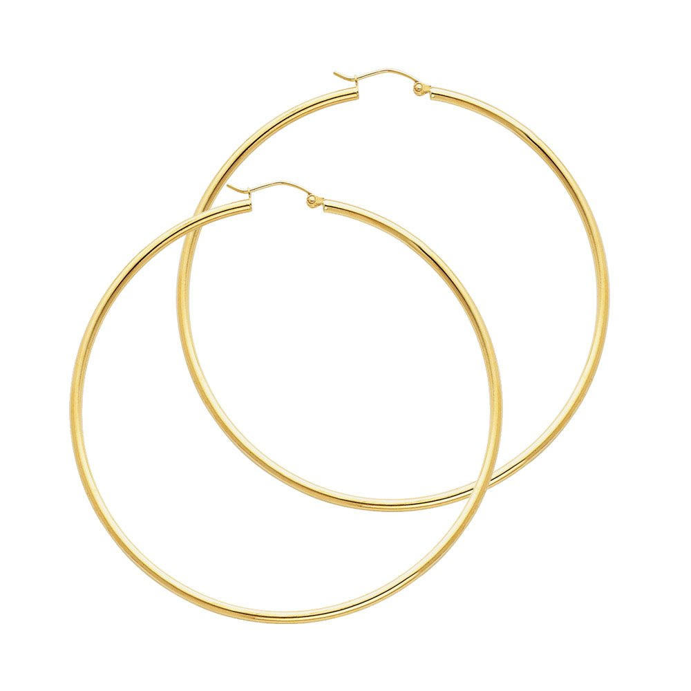 14k Yellow Gold 2mm Thickness Hinged Hoop Earrings (55 x 55 mm) by The World Jewelry Center
