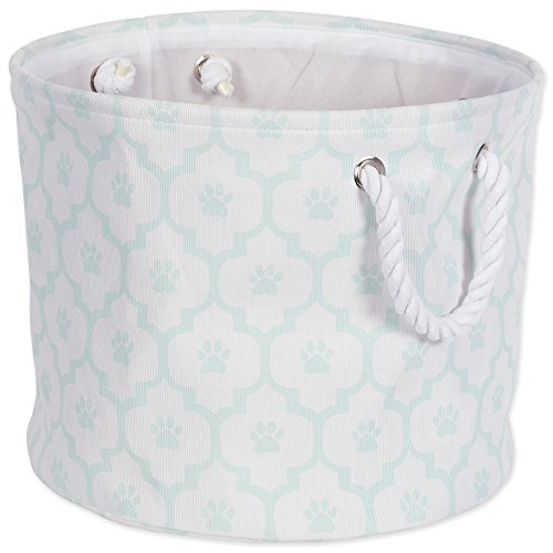 Bone Dry DII Medium Round Pet Toy and Accessory Storage Bin, 15 x 12(H), Collapsible Organizer Storage Basket for Home Décor, Pet Toy, Blankets, Leashes and Food-Aqua Lattice Paw Print by Bone Dry