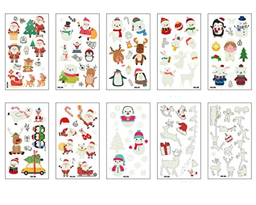 UgyDuky 10 Pack Christmas Glow in the Dark Temporary Tattoos Waterproof Cartoon Stickers Party Favor Supplies Temporary Luminous Tattoos for Kids Children Adult