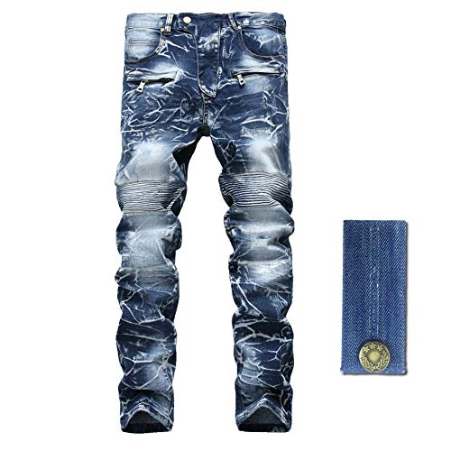 LZLER Slim Fit Biker Jeans for Mens, Distressed Straight Moto Denim Pants with Zipper Deco (Zipper Straight Men Pants)